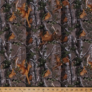 Flannel Realtree Deer Forest Woods Leaves Camouflage Fabric By the Yard (10161)