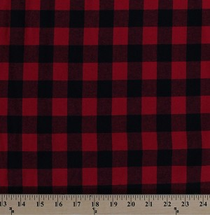 "58"" Flannel Red Black Buffalo Plaid Checks Checked Squares Woven Cotton Flannel Fabric by the Yard (5095M-12A)"