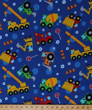 Flannel Construction Vehicles Dump Trucks Cranes Bulldozers Tractors Earth Movers Boys Toys Kids Blue Flannel Fabric By the Yard (108-2821)