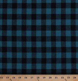 "58"" Flannel Aqua and Black Buffalo Plaid Checks Checked Squares Woven Cotton Flannel Fabric by the Yard (5095M-12A)"