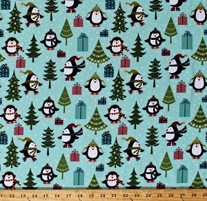 Flannel Jolly Penguin & Friends Penguins Ice Skating Christmas Trees Gifts Presents on Blue Winter Holiday Cotton Flannel Fabric By the Yard (10041F-84)