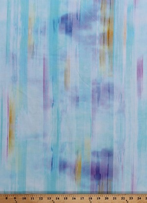 Cotton Color Hues Spectrum Blue Wanderlust Watercolor-Look Cotton Fabric Print by the Yard (P4447-536-AQUARIUS)