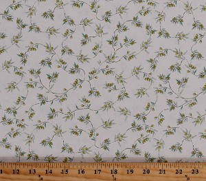 Cotton Olives Olive Branches Sprigs Plants Italian Cuisine Italy Mediterranean Bella Toscana Cotton Fabric Print by the Yard (51353-3)