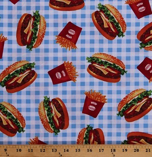 Cotton Burgers and Fries Hamburgers Cheeseburgers French Fries Fast Food Blue Gingham Picnic Cotton Fabric Print by the Yard (SRK-16987-4BLUE)
