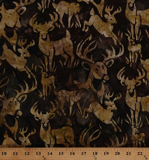 Cotton Batik Deer Buck Whitetail Stag Animals Wildlife Sanctuary 4 Earth Brown Cotton Fabric Print by the Yard (AMD-16776-169EARTH)