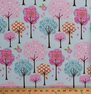 Cotton Trees Whimsical Floral Flowers Spring Pretty Little Things Blue Cotton Fabric Print by the Yard (PWDF129-BLUE)