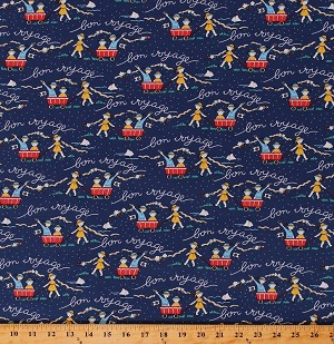 Cotton Kids Children Playing Wagons 1930's Great Depression Era Flowers Floral Sailboats Nautical Bon Voyage Dark Blue Cotton Fabric Print by the Yard (42862-2)
