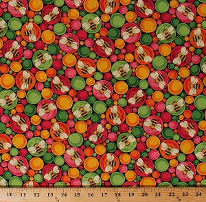 Cotton Cute Bumblebees Bees Insects Bugs on Multi-Color Bubbles Circles Ellery Cotton Fabric Print by the Yard (1649-26287-J)