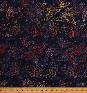 Cotton Batiks Butterfly Butterflies Rainbow Flowers Cotton Fabric Print by the Yard (Y2861Large butterflies-55 multi)