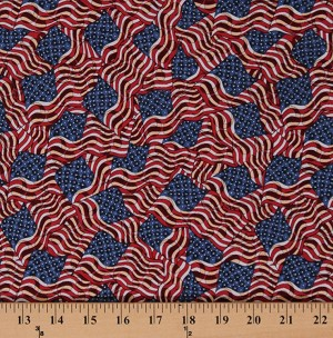 Cotton American Flags Allover Flag Patriotic Old Glory America USA Fourth of July Red White and Blue Cotton Fabric Print by the Yard (64286-1600715)