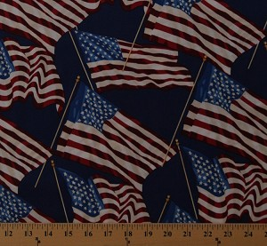 Cotton American Flags on Blue Patriotic Flag Old Glory Stars and Stripes America USA Fourth of July Cotton Fabric Print by the Yard (A-8466-B)