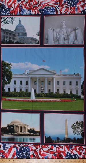 23' X 44' Panel Washington D.C. Monuments Landmarks White House Capitol Building Memorials USA America Tourist Attractions American Spirit Cotton Fabric Panel (01340-01)