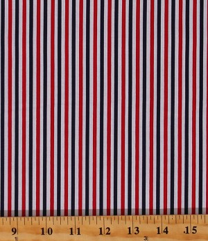 "Cotton Patriotic Red White Blue 1/8"" Stripes Striped Seasonal Basics Cotton Fabric Print by the Yard (C495-PATRIOTIC)"