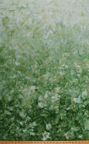 Cotton Batik Green Ombre Gradations Variations Mottled Style Hand Painted Batik Cotton Fabric Print by the Yard (851-JUNGLE-69)