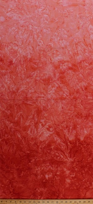 Cotton Batik Coral Orange Ombre Gradations Variations Mottled Style Hand Painted Batik Cotton Fabric Print by the Yard (851-CHILIES-444)