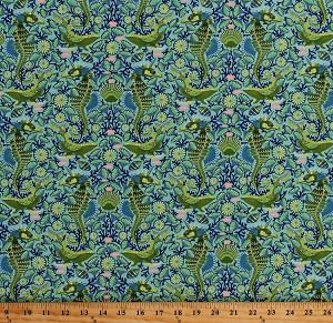 Cotton Tula Pink Zuma Seahorses Humpback Whales Fish Seashells Aquatic Animals Sea Stallion in Aqua Marine Green Cotton Fabric Print by the Yard (PWTP119-AQUAM)