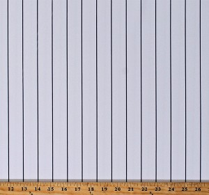 "Athletic Jersey White with Charcoal Pinstripe 60"" Wide Baseball Stripe Uniform Fabric by the Yard (D330.51)"