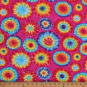 "58"" Rainbow Tie Dye Look 70's Retro Cotton Spandex 4-Way Stretch T-Shirt Knit Fabric Print by the Yard (63743-6000710)"