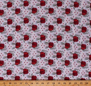 "58"" Cotton Blend Tossed Roses Rose Flowers Floral and Dots on White Lightweight Jersey T-shirt Knit Fabric Print by the Yard (4108F-7A)"