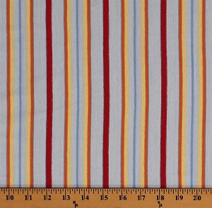 "60"" Uneven Stripe Red Orange Yellow Stripes on Blue Medium Weight T-Shirt Knit Cotton/Blend Fabric by the Yard (6373E-12K)"