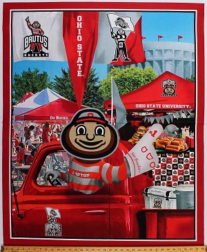 "36"" X 42"" Panel Ohio State University OSU Buckeyes Brutus Mascot Truck Go Bucks Tailgating Tailgate Party Football Fans NCAA College Sports Team Cotton Fabric Panel (OHS-1157)"