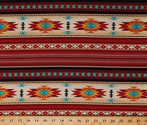 Cotton Southwestern Stripes Indian Native American Southwest Tribal Red Gold Turquoise Tucson Stripes Terracotta Cotton Fabric Print by the Yard (210-Tcotta)