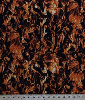 Cotton Fire Realistic Orange Flames Firefighters Firefighting Landscape Black Cotton Fabric Print by the Yard (FIRE-C5503FIRE)