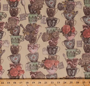 Cotton Tea Time Stacked Teacups Cups Mugs Dishes Tea Bags Flowers Roses Vintage Floral Kitchen Cotton Fabric Print by the Yard (Y2090-17)