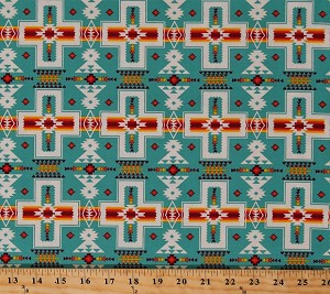 Cotton Southwestern Stripes Tribal Designs Crosses Native American Aztec Tucson Turquoise Cotton Fabric Print by the Yard (468TURQUOISE)