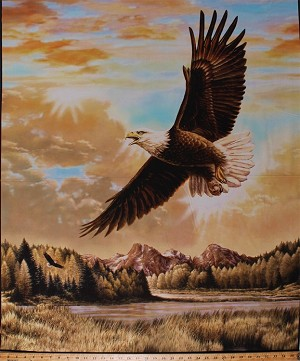 "35.5"" X 44"" Panel Bald Eagles Birds of Prey Sky Clouds Trees Mountains Nature Patriotic American Wildlife Scenic Majestic Outdoors 2 Cotton Fabric Panel (PD-6480-eagle)"