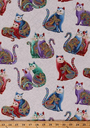 Cotton Playful Cats Whimsical Felines Animals Multi-Color Paisleys Gold Metallic Shimmer on White Cat-i-tude 2 PurrFect Together Cotton Fabric Print by the Yard (7559M-09)