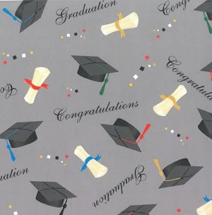 (Coming Soon! Made Exclusively for Field's Fabrics) Cotton Graduate Graduation Caps Diploma Toss School Celebration Congratulations Cotton Fabric Print by the Yard (199-013)