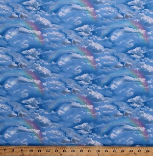 Cotton Rainbows Clouds Blue Sky Skies Sun Heavens Celestial Landscape Medley Cotton Fabric Print by the Yard (460blue)