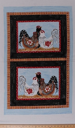 "23"" X 44"" Panel Three French Hens Chickens Poultry Barnyard Fowl Farm Birds Animals Country Cotton Fabric Panel (4652T-9A-hens)"