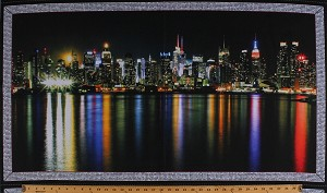 "23.5"" X 44"" Panel City Skyline Sky Line Buildings Skyscrapers Towers Night City Lights Urban Landscape Cityscape Scenic Artworks VII Black Cotton Fabric Panel (1649-26434-X)"