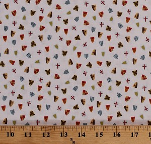 Cotton Tiny Shields Allover Shield Emblems Medieval Knights Lancelot Kids Cotton Fabric Print by the Yard (C7083-CREAM)