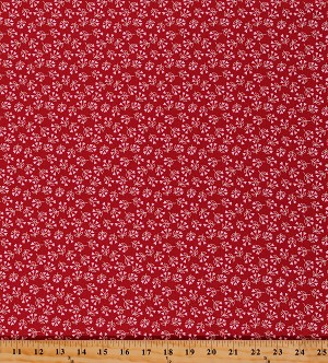 Cotton Valentine's Day Hearts Flowers Be Mine Red Cotton Fabric Print by the Yard (20715-14)