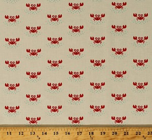 Cotton Red Crabs on Ocean Beach Sea Animals Crustaceans Seafood Nautical Summer Beachy Keen Kids Cotton Fabric Print by the Yard (ACY-15895-14-NATURAL)