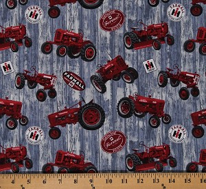 Cotton Farmall Logo Tossed Red Tractors Allover on Gray Barn Wood Hometown Life International Harvester Farming Farmers Agriculture Cotton Fabric Print by the Yard (10214/ALLOVER)
