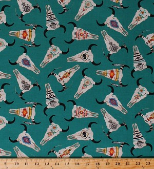 Cotton Southwestern Motifs Cow Skulls Feathers Tucson 581 Turquoise Southwest Cotton Fabric Print by the Yard (581TURQUOISE)