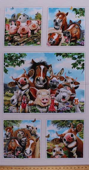 "23"" X 44"" Panel Farm Selfies Farm Animals Funny Faces Pigs Horses Cows Sheep Kids Cotton Fabric Panel (1322CREAM)"