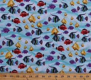 Cotton Fish Colorful Tropical Fishes Swimming Blue Water Ocean Sea Marine Animals Aquatic Cotton Fabric Print by the Yard (41489-2)