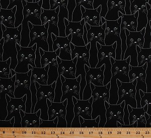 Cotton Black Cats Kittens Kitties Kitty Outlines Sketch Animals Pets Full Moon Silver Metallic Shimmer Glitter Feline Cotton Fabric Print by the Yard (P4347-ONYX/SIL)