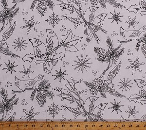 cotton coloring cardinals birds pine tree cones branches holly leaves berries winter snowflakes christmas holiday lets