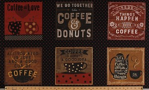 23.5' X 44' Panel Coffee Quotes Sayings Coffee Donuts Mugs Cafe Espresso Yourself Cotton Fabric Panel (Y2247-3-BLACK)