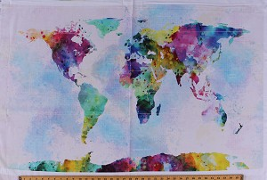 27.5' X 44' Panel Watercolor World Map Maps Continents Countries Oceans Travel Globehopper Digital Cotton Fabric Panel (R4572-58-EARTH)