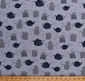 Cotton Teapots Tea Pots Kettles Hot Drinks Beverages Tea Party Kitchen Blue Gray Cotton Fabric Print by the Yard (STELLA-SRR651)