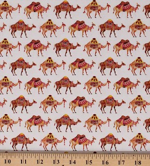 Cotton Camels Travelling Animals Desert Moroccan Nights Caravan Cotton Fabric Print by the Yard (86190201J-01)