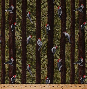 Cotton Woodpeckers Red-Bellied Woodpecker Birds Nature Trees Woods Forest Nature Scenic Landscape Birdwatching Cotton Fabric Print by the Yard (NATURE-C1141-green)