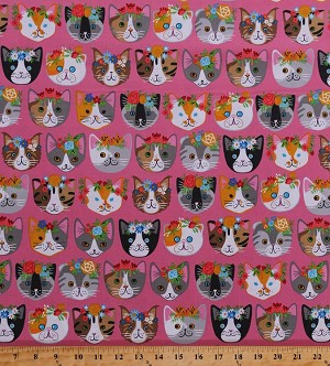 Cotton Cats Cat Faces Portraits Flower Crowns Flowers Kittens Animals Feline Pets Pink Cotton Fabric Print by the Yard (AXN-16340-10PINK)